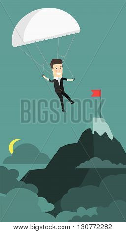 Businessman landing to the goal with parachute, business concept. Business concept cartoon illustration. Vector