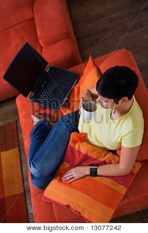 Young woman is using a laptop computer is her comfortable living room.