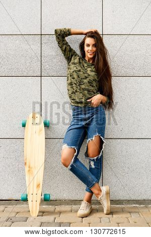 Happy Girl With Longboard Skateboard