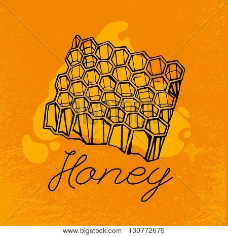 Beehive and honey. Hand drawn artistic image. Editable vector illustration in unique style on a textured background in black, yellow and orange colors. I like honey concept
