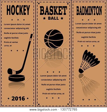 Sports newspaper prints in retro style. Set of Vintage Sport separate Labels.  Retro Sport Card. Sport Items in Vintage Style. Vector illustration. Sports flyer.