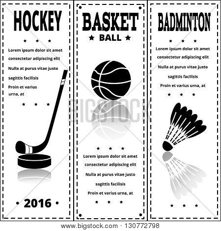 Sports items on white paper. Set of Vintage Sport separate Labels. Retro Sport Card. Sport Items in Vintage Style. Vector illustration. Sports flyer.