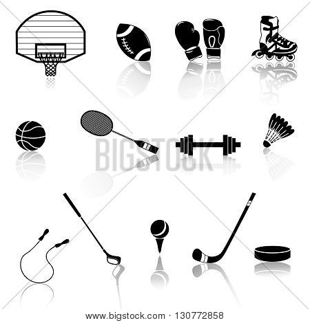 Vector set of sport objects. The composition of the sports items. Vector illustration on the theme of sport. Icons on the sports theme. Sports white black prints. White black icons.
