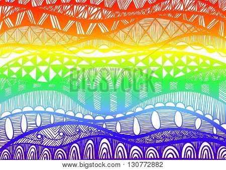 abstract background of waves with ethnic patterns and gradient in colors of rainbow