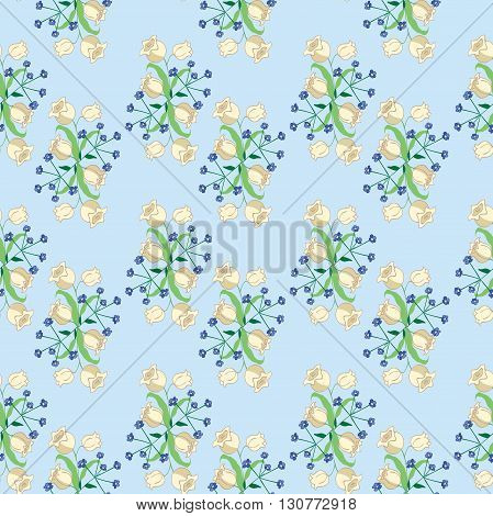 Seamless pattern with flowers Lily of the valle