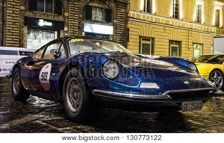 PESARO, ITALY - MAY 119 : Ferrari Dino on an old racing car in rally Mille Miglia 2016 the famous italian historical race (1927-1957) on May 2016