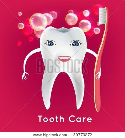 Tooth with toothbrush in childish style. Teeth hygiene concept. Dental image useful for poster, placard, leaflet and brochure design. Editable vector illustration