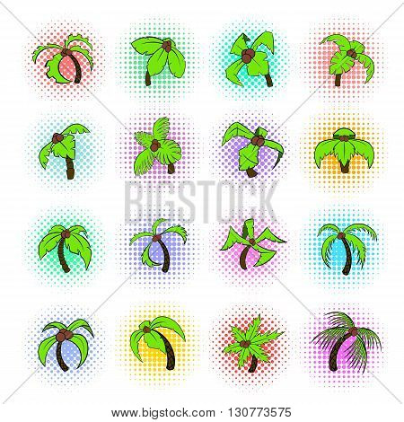 Palm tree icons set in pop-art style isolated on white