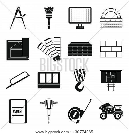 Construction icons set in simple style for any design