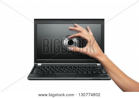 Laptop locked . Security concept. Isolated white background.
