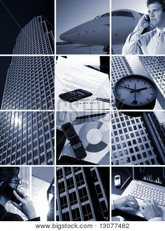 Conceptual image-grid of business photos: 'Time is Money'
