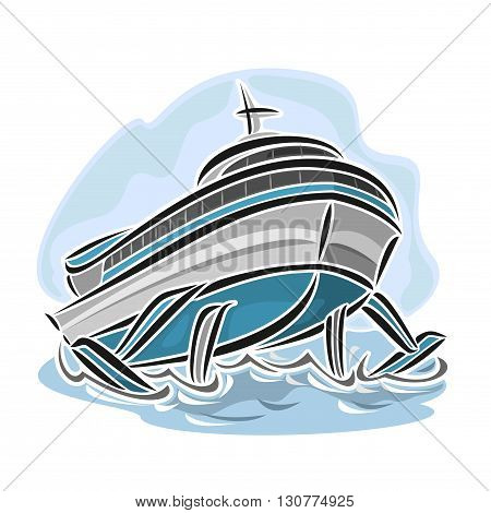 Vector illustration of logo for hydrofoil ship, consisting of speed passenger cartoon jetfoil vessel, floating on the ocean sea waves close-up on blue background