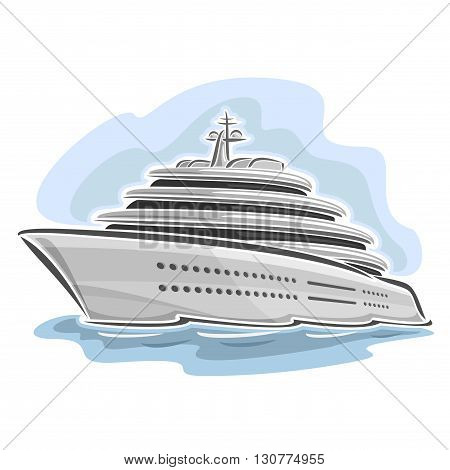 Vector illustration of logo for large mega yacht, consisting of luxury cartoon cruise liner ship, floating on the ocean sea waves close-up on blue background
