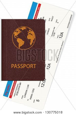 Passport and boarding pass isolated on white background. Concept of travel, journey or business trip. Vector illustration