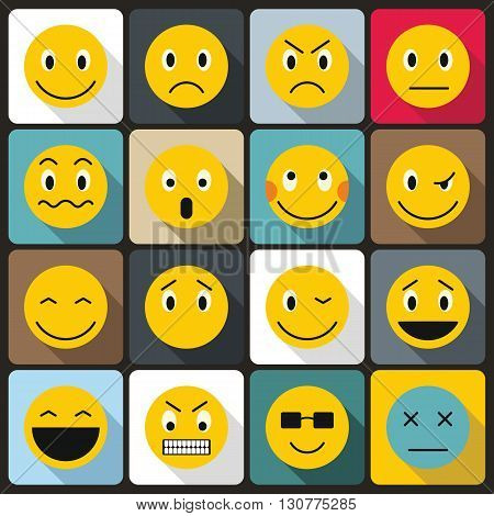 Emoticon icons set in flat style for any design