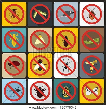 No insect or pest sign icons set in flat style for any design