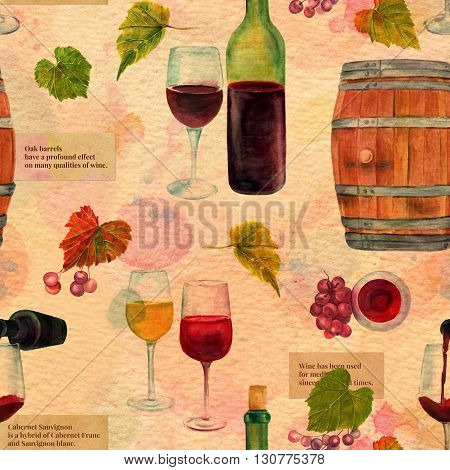 A seamless watercolor wine pattern with drawings of wine glasses bottle barrel grapes and vine leaves collaged vintage style on a textured old paper background with scraps of texts about wine
