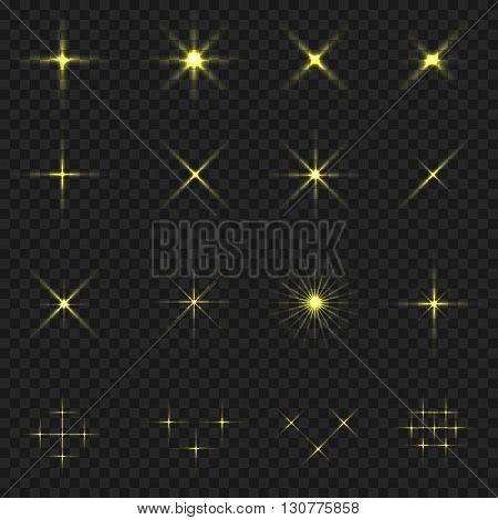 Golden blink icons. Golden stars. Magic sparkles on transparent background