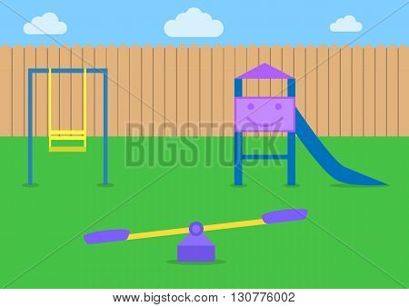 Kids playground Playground park Children slide and swings Colorful playground
