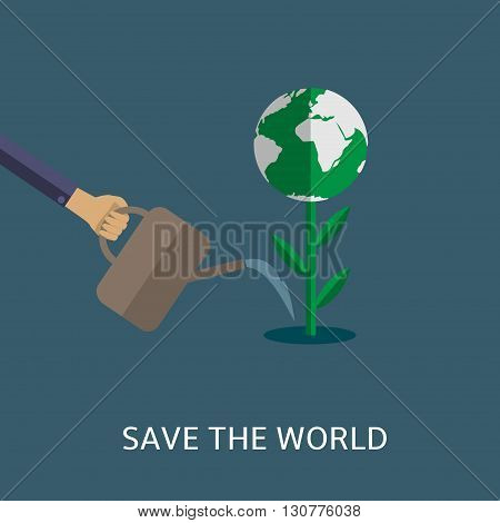Save the world. Man watering plant with abstract earth. Bio concept. Eco concept