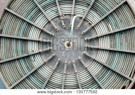 A macro shot of a big wire wheel