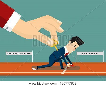 Boss motivates his subordinate. Business concept cartoon illustration. Vector