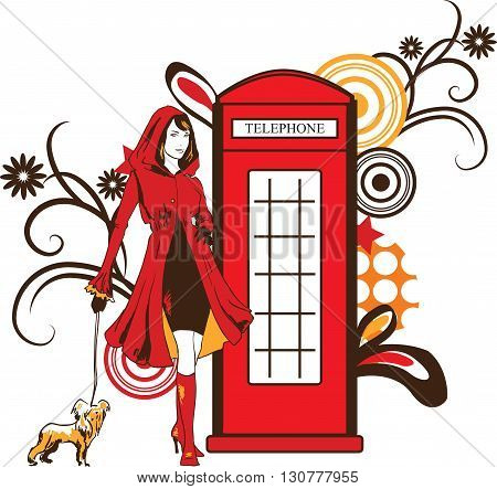 Graphic trendy women silhouette with dog and pop art ornament. Fashion vector illustration