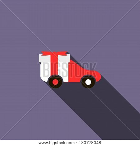 Toy car icon in flat style with long shadow. Children toys symbol