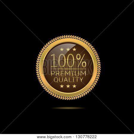 Premium quality. Golden Premium quality label, Vector illustration