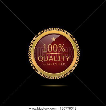 Quality guaranteed. Golden quality guaranteed label, Vector illustration