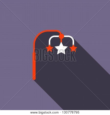 Hanging toy icon in flat style with long shadow. Children toys symbol