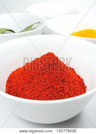 Spices in white bowls, studio shot, isolated on white