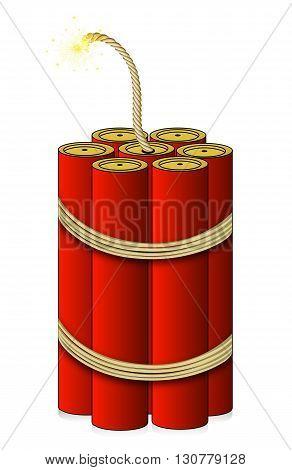 Broken winded large dynamite, vector art illustration.