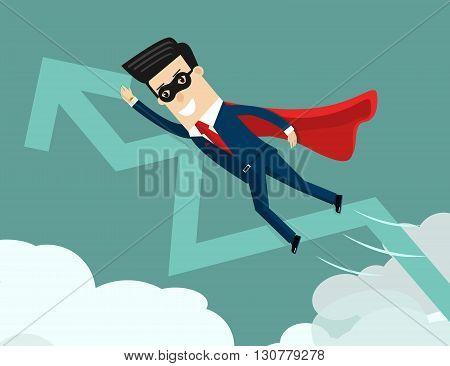 Uptrend. Super businessman with growing graph. Business concept cartoon vector illustration.