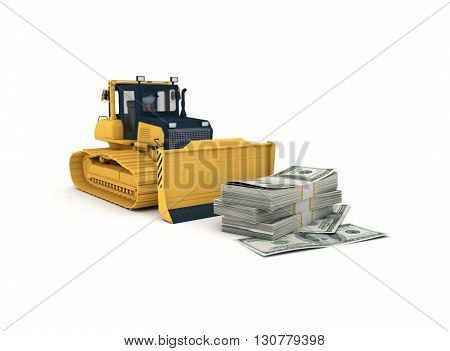 Yellow bulldozer. 3d illustration isolated on white background.
