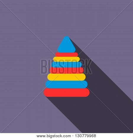 Children pyramid icon in flat style with long shadow. Children toy symbol