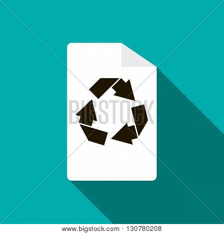 Recycling icon in flat style with long shadow
