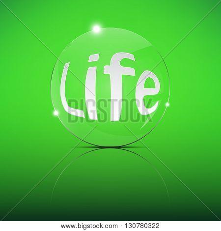 Life word Focus Convex Len Vector Illustration