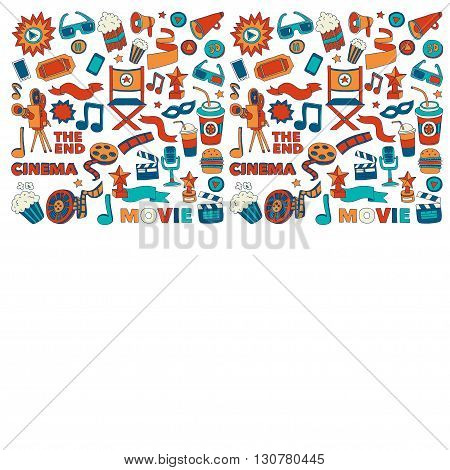 Vector pattern with cinema hand drawn icons Doodle style pictures