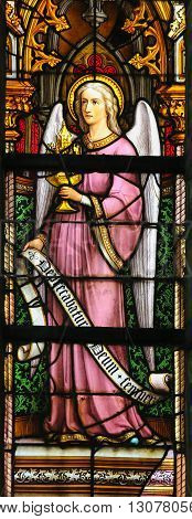 Stained Glass - Angel Holding A Monstrance