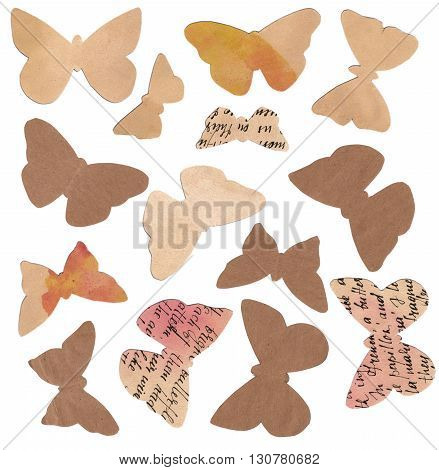 A set of butterflies cut out of watercolor toned paper with handwritten text isolated on white background; a collection of design elements for collage