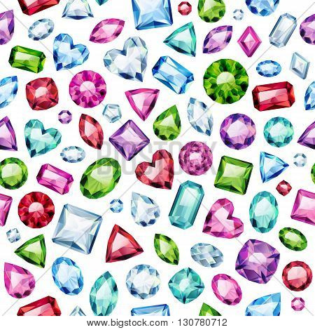 Seamless colorful diamond gemstones background on white. Jewels pattern. Assorted diamonds rubies emeralds vector illustration. Good for cover card banner poster luxury design.