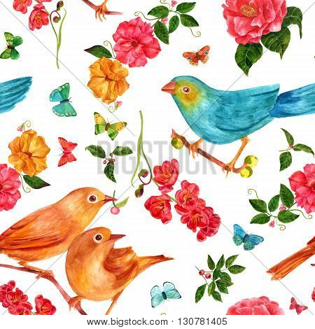 A seamless background pattern Victorian style with hand drawn watercolor birds flowers fruits and butterflies
