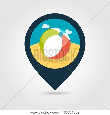 Beach Ball vector pin map icon. Map pointer. Summer Map markers. Summertime. Vacation eps 10
