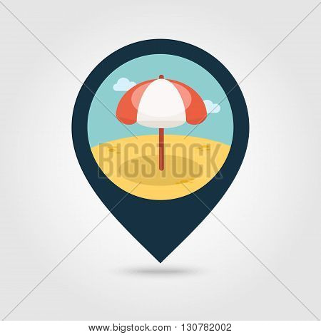 Beach Parasol vector pin map icon. Map pointer. Summer Map markers. Summertime. Vacation eps 10