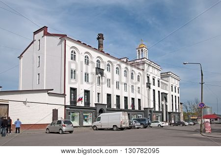 SORTAVALA, KARELIA, RUSSIA - MAY 14, 2016: Building of the last Finnish Orthodox Church office in 1931 on Kirov Street. Now it is a residential building.