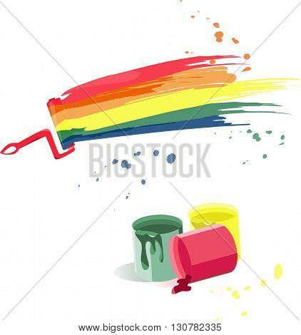 Cans of paint and splashes of different colors on the brush