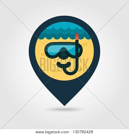 Diving Mask vector pin map icon. Beach Map pointer. Summer Map markers. Summertime. Vacation eps 10