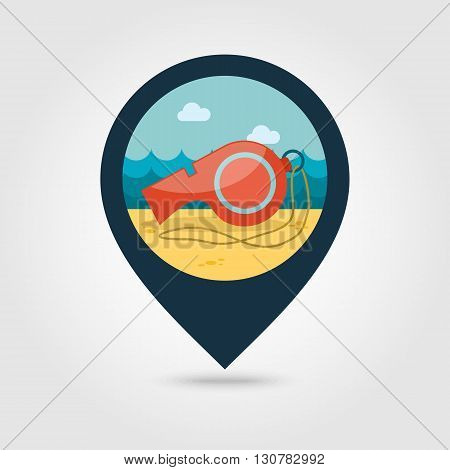 Whistle vector pin map icon. Beach Map pointer. Summer Map markers. Summertime. Vacation eps 10