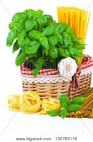Fresh pasta and italian ingredients isolated on white background